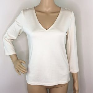 Linda Allard Ellen Tracy Silk V-Neck Blouse